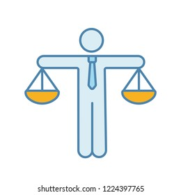 Business ethic color icon. Honesty. Morality. Law and regulation. Moral standards. Scales of justice. Isolated vector illustration