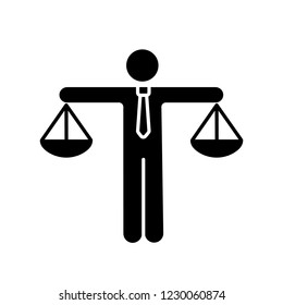 Business ethic glyph icon. Honesty. Morality. Law and regulation. Moral standards. Scales of justice. Silhouette symbol. Negative space. Vector isolated illustration