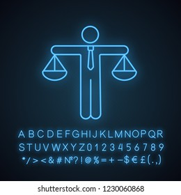 Business ethic neon light icon. Honesty. Morality. Law and regulation. Moral standards. Scales of justice. Glowing sign with alphabet, numbers and symbols. Vector isolated illustration