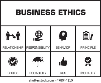 Business Ethics. Chart with keywords and icons