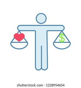 Business ethics color icon. Dilemma. Love or money decision. Make choice. Right or wrong decision. Honesty, morality. Scales of justice with dollar and heart. Isolated vector illustration