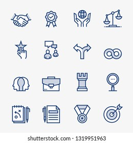 Business Ethics Colored Outline Icons. Pixel Perfect