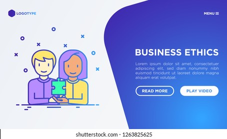 Business ethics concept: people of different nationalities working together. Thin line icons: commitment, no to racism, recruitment service, gender employment. Vector illustration, web page template.