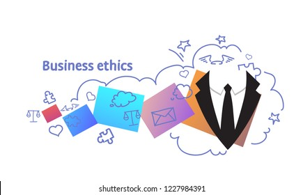 business ethics concept successful strategy sketch doodle horizontal vector illustration