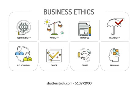 BUSINESS ETHICS Line icon Concept