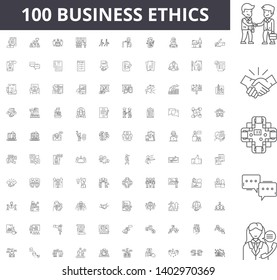 Business ethics line icons, signs, vector set, outline illustration concept