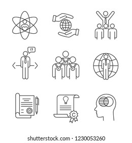 Business ethics linear icons set. Core values, responsibility, leadership, make choice, professionalism, business, contract, intellectual property, transparency. Isolated vector outline illustrations