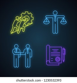 Business ethics neon light icons set. Partnership, honesty, teamwork, signed contract. Glowing signs. Vector isolated illustrations