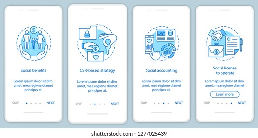 Business ethics onboarding mobile app page screen template. Corporate social responsibility walkthrough website steps. CSR. Social welfare and environment. UX, UI, GUI smartphone interface concept