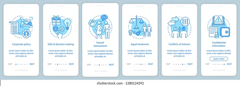 Business ethics onboarding mobile app page screen vector template. Corporate social responsibility. CSR walkthrough website steps. Corporate governance. UX, UI, GUI smartphone interface concept
