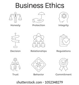 Business Ethics Outline Icon Set with Honesty, Integrity, Commitment, and Decision