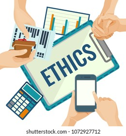 Business ethics porter with papers and devices for calculations