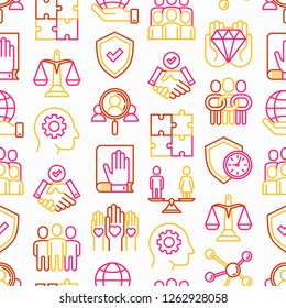 Business ethics seamless pattern with thin line icons: connection, union, trust, honesty, responsibility, justice, commitment, no to racism, gender employment, core values. Vector illustration.