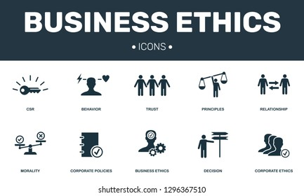 Business Ethics set icons collection. Includes simple elements such as CSR, Behavior, Trust, Principles and Morality premium icons.