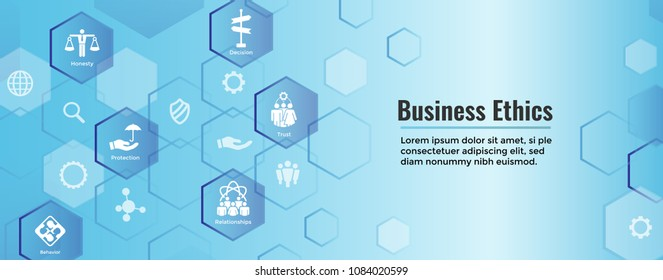 Business Ethics Solid Icon Set w Honesty, Integrity, Commitment, & Decisions Web Banner Header