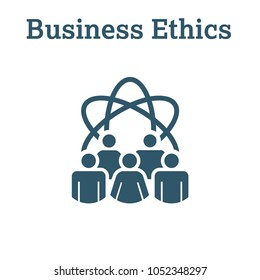 Business Ethics Solid Icon w people sharing ideas.