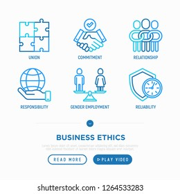 Business ethics thin line icons set: union, commitment, relationship, responsibility, gender employment, reliability. Vector illustration.