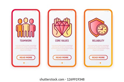 Business ethics thin line icons set: teamwork, core values, reliability. Vector illustration for user mobile interface.