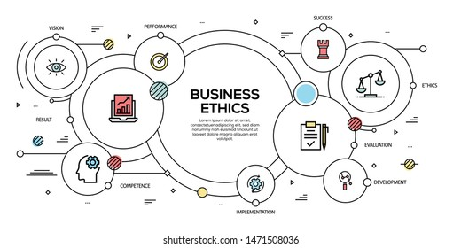 BUSINESS ETHICS VECTOR CONCEPT AND INFOGRAPHIC DESIGN