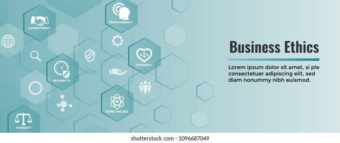 Business Ethics Web Banner Icon Set - Honesty, Integrity, Commitment, and Decision