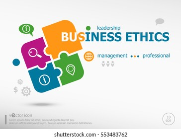Business ethics word cloud on colorful jigsaw puzzle. Infographic business for graphic or web design layout