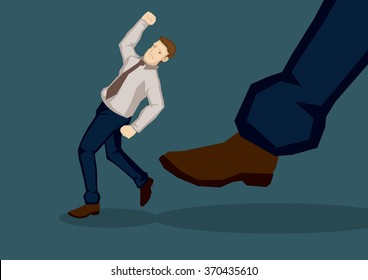 Business executive get kicked in the butt by a giant foot. Creative vector illustration on metaphor for getting kicked isolated on green background.
