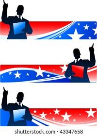 Business executive with patriotic banners Original Vector Illustration