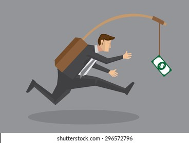 Business executive running after dangling dollar note in front of him. Creative vector cartoon illustration on self defeating method to achieve wealth concept isolated on grey background.
