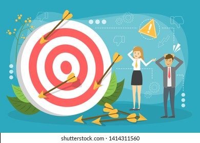 Business fail concept. People standing at the big target or dartboard. Arrow on the floor, big mistake. Vector illustration in cartoon style