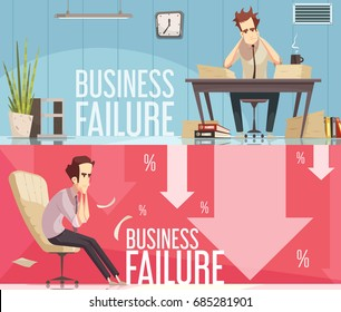Business failure 2 retro cartoon banners with frustrated businessman sitting in red arrows down isolated vector illustration