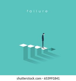 Business failure and bakruptcy vector illustration concept. Businessman on steps leading to stock market crash, crisis, recession, decline. Eps10 vector illustration.