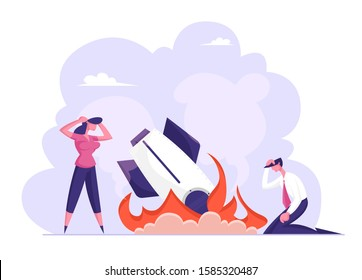 Business Failure, Crash. Businessman Businesswoman Stand at Burning Crashed Startup Rocket. Spaceship Fall Down. Unhappy People Sad about Launching Not Working Project. Flat Vector Illustration
