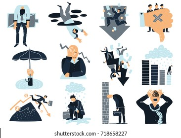Business failure flat icons collection with thumb down falling from mountain drowning and decrease symbols isolated vector illustration