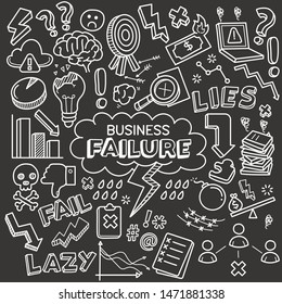 Business failure related objects and elements collection. Hand drawn vector doodle illustration over chalkboard isolated on black background.