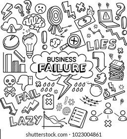 Business failure vector doodles