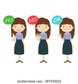 "Business family cartoon character with ""yes"","" No"", ""OK"",""Correct"" answer on White background.- vector illustration"