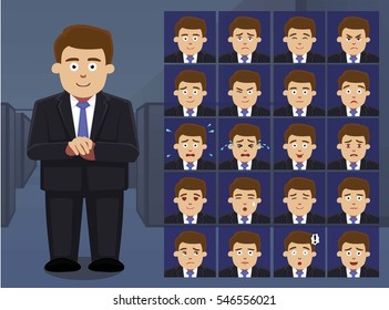 Business Fat Man Cartoon Emotion faces Vector Illustration