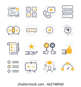 Business Feedback icons. Included the icons as comment, reviews, survey, satisfaction, report, data and more.