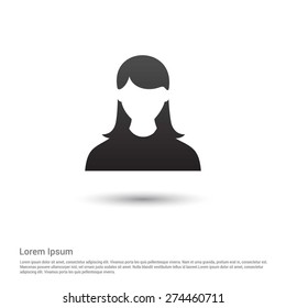 Business female user Icon, pictogram icon on gray background.
