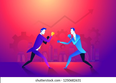Business fight club. Boxing and glove, businesspeople and violence, boxer strength. Vector illustration.