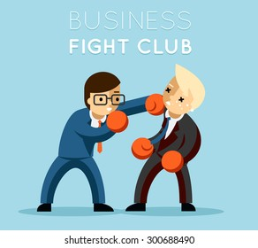 Business fight club. Boxing and glove, businesspeople and violence, boxer strength. Vector illustration