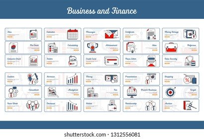 Business and Finance Banner Collection with Outline Filled Style