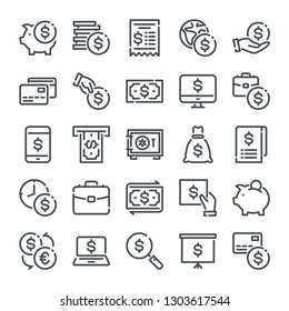 Business and Finance bold line icon set. Banking linear icons. Money, cash and payment outline vector sign collection.