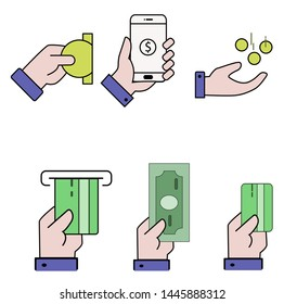 business or finance concept, hand and money, credit card and smartphone design illustration, payment symbol illustration, sign and symbol for app or web design.