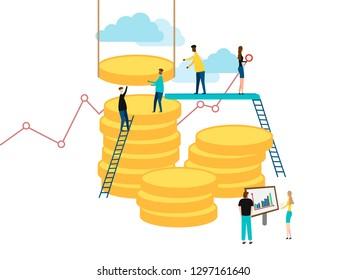 Business finance concept. People job. Vector illustration. Eps 10.
