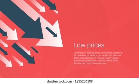 Business finance crisis concept, low sales. Money fall down symbol. Arrow decrease economy stretching rising drop. Lost crisis bankrupt declining. Cost reduction. Loss of income. vector illustration