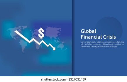 business finance crisis concept. money fall down with arrow decrease symbol. economy stretching rising drop, global lost bankrupt. cost declining reduction or loss of income. vector illustration.