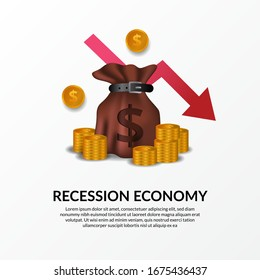 business finance crisis. Global economy recession. Inflation and bankrupt. Market fall and loss income. illustration of money bag, golden money and red bearish arrow