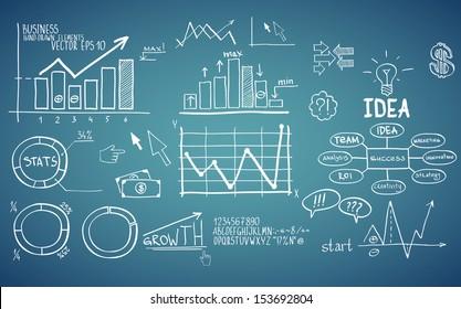 Business finance elements. Hand-drawn