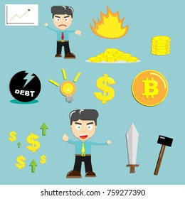 Business Finance icon and character mix for Bitcoin cryptocurrency financial concept